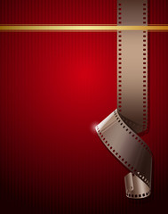 Camera film roll on wallpaper red background, vector