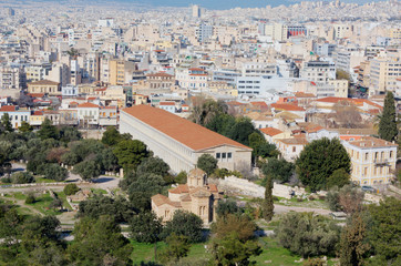 View of Athens with the Stoa of Attalos, Greece