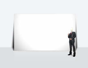 Business man stand with creative white board