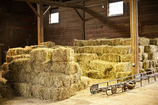 Interior of barn with hay bales