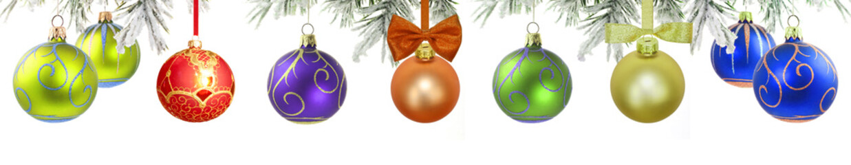 Christmas banner with green tree and baubles isolated