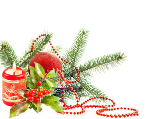 Christmas decoration with candle green tree and bauble isolated