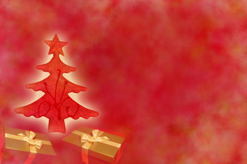 Christmas red tree with gifts abstract background design