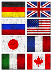 Grunge Great 8 (G8) Countries Flag, Old Metal Textured