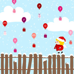 """Angel Fence Balloons Christmas Gifts """"Merry Xmas"""" Blue"""