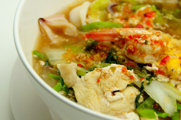 Thai Style Sukiyaki Soup with Pork and Seafood