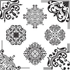 Set of corner swirl elements