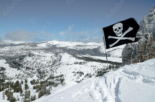 Caution Sign At Double Black Diamond Ski Slopes On Resort