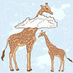 Cute giraffe in clouds seamless pattern