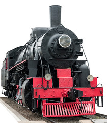 Foto op Textielframe Rood, zwart, wit Steam train on white background.