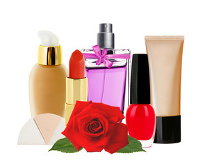 Many cosmetics and red rose isolated on white background
