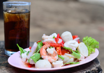 Seafood salad with drink water