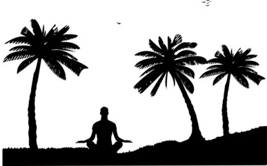 A girl meditating and doing yoga exercise between the palms