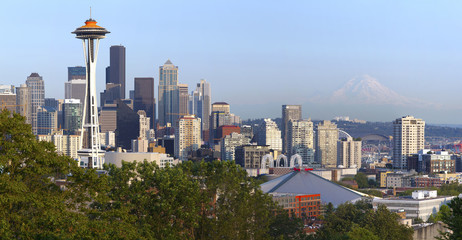 Seattle skyline and Mt. Rainier.