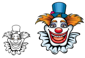 Smiling circus clown in hat