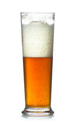beer glass full of cold lager.