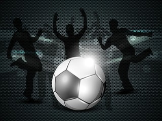 Shiny soccer ball with football players silhouette. EPS 10.