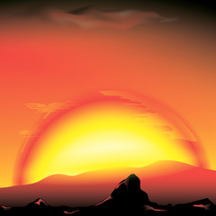 red sunset with silhouette of mountains - vector illustration
