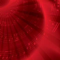 red background with notes - vector