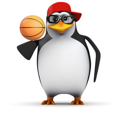 3d Penguin in baseball cap balances basketball