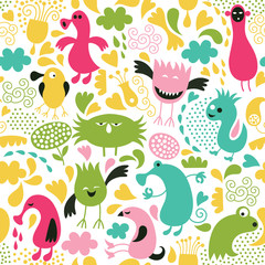 seamless pattern, funny alien