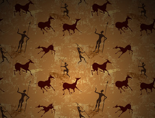 Cave painting ancient art seamless vector background