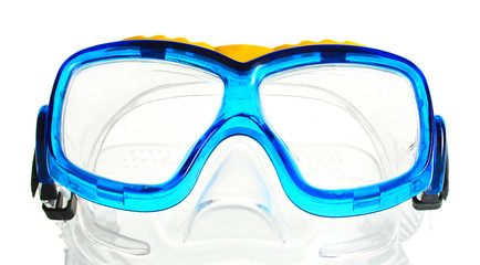 blue swim goggles isolated on white.