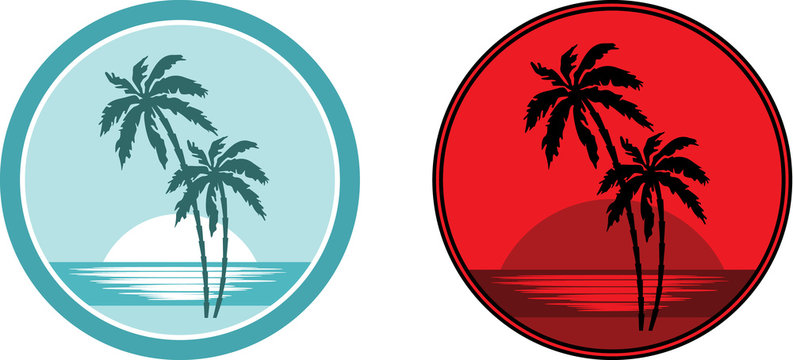 Tropical beach with palm trees. Emblem.