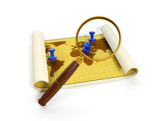 3d illustration: map for travel and a magnifying glass. Isolated