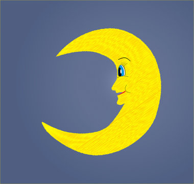 Fun smiling half yellow moon looking vector illustration