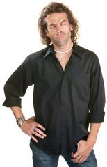 Sneering Man in Black Shirt