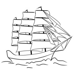 Sketch of nautical sailing vessel in a sea