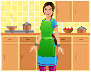 Beautiful Indian woman in kitchen