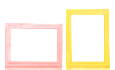Wooden frames isolated on white.