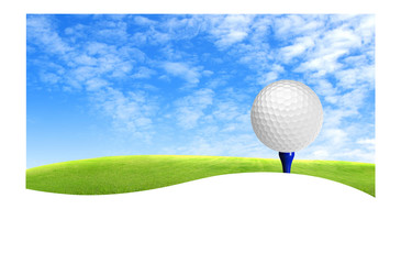 Golf ball on tee off with green grass field over the blue sky ba