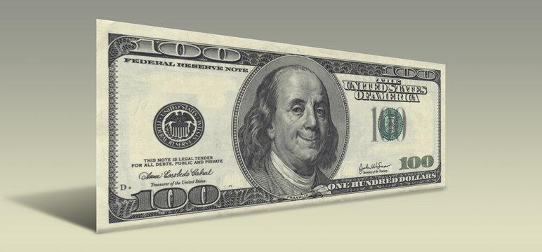 US Hundred Dollar bill with Smiling Ben Franklin
