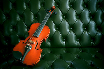 violin on luxury dark green leather background