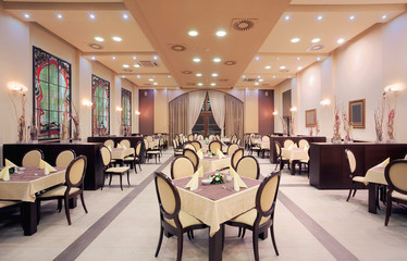 Modern hotel restaurant interior