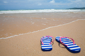 Colorful flipflop footware on sea beach. Holiday concept.