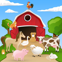 Poster Ranch Vector illustration of farm animals infront of a barn