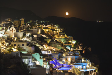 Poster Full moon Oia village ,Santorini island, Greece