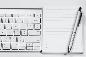 Notebook keyboard with white.