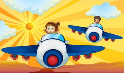 Kids driving aeroplane