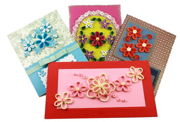 cards with quilling flowers