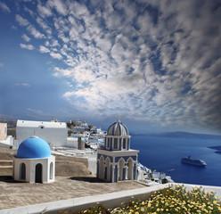 Santorini island with sea-view in Greece