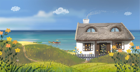 The sunny day. The snug house on a seaside.