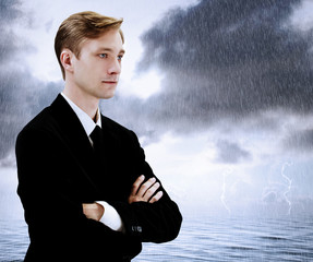 Business Man at Sea Storm