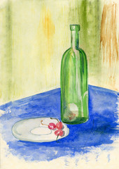 Bottle and cherry