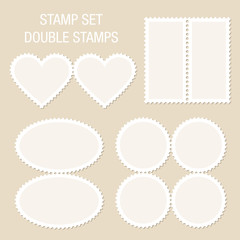 Blank Stamps Double Beige Background