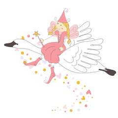 Little fairy flying on a swan
